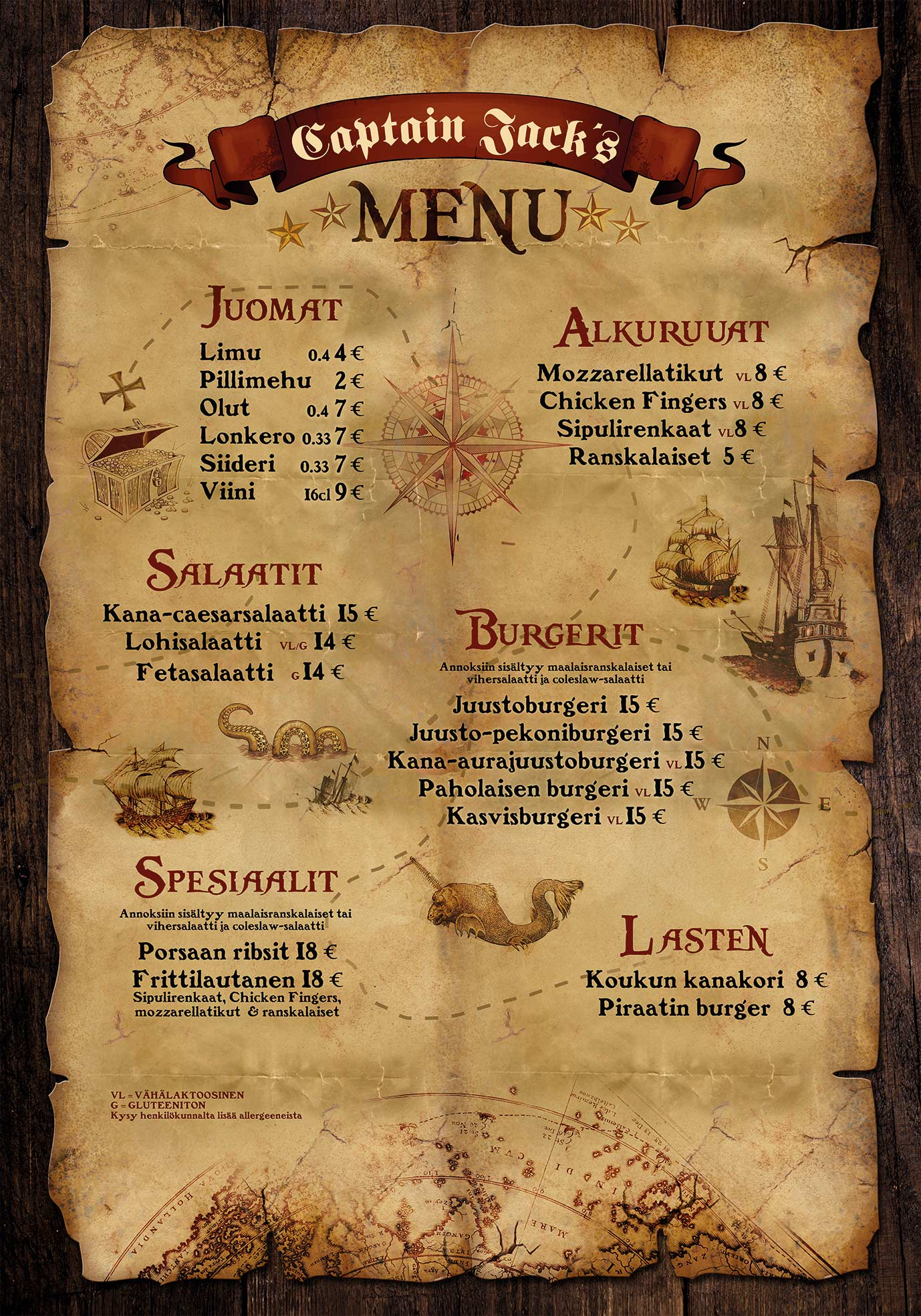 Captain Jack`s Menu